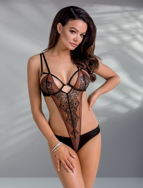 Body dentelle noir cuivré Mirella Casmir