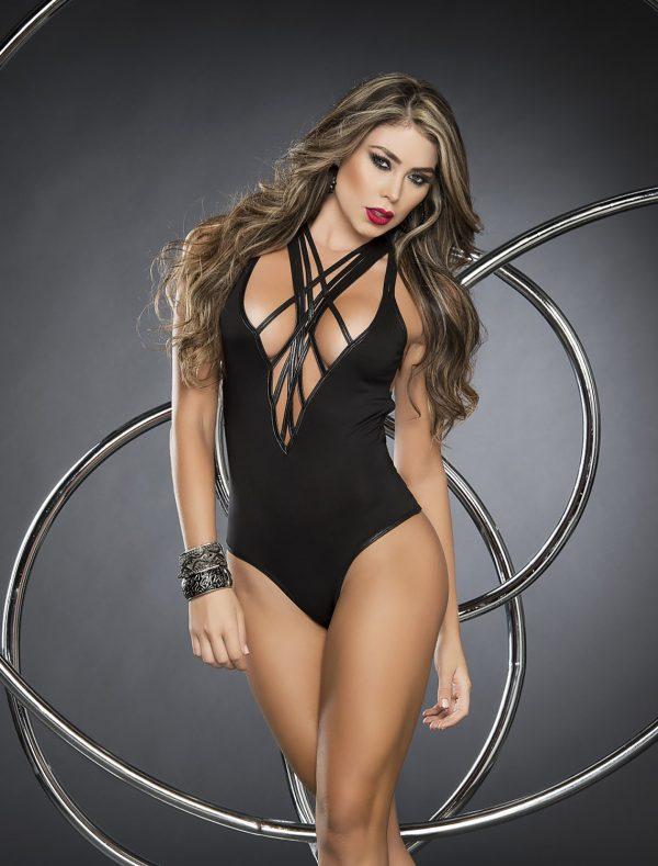 Body noir lanières style 2288 Mapalé