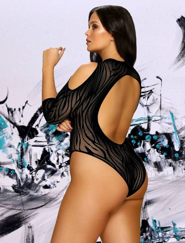 Body noir zèbre B130 Obsessive grande taille dos
