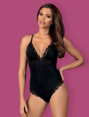 Body ouvert noir satiné Arisha Obsessive