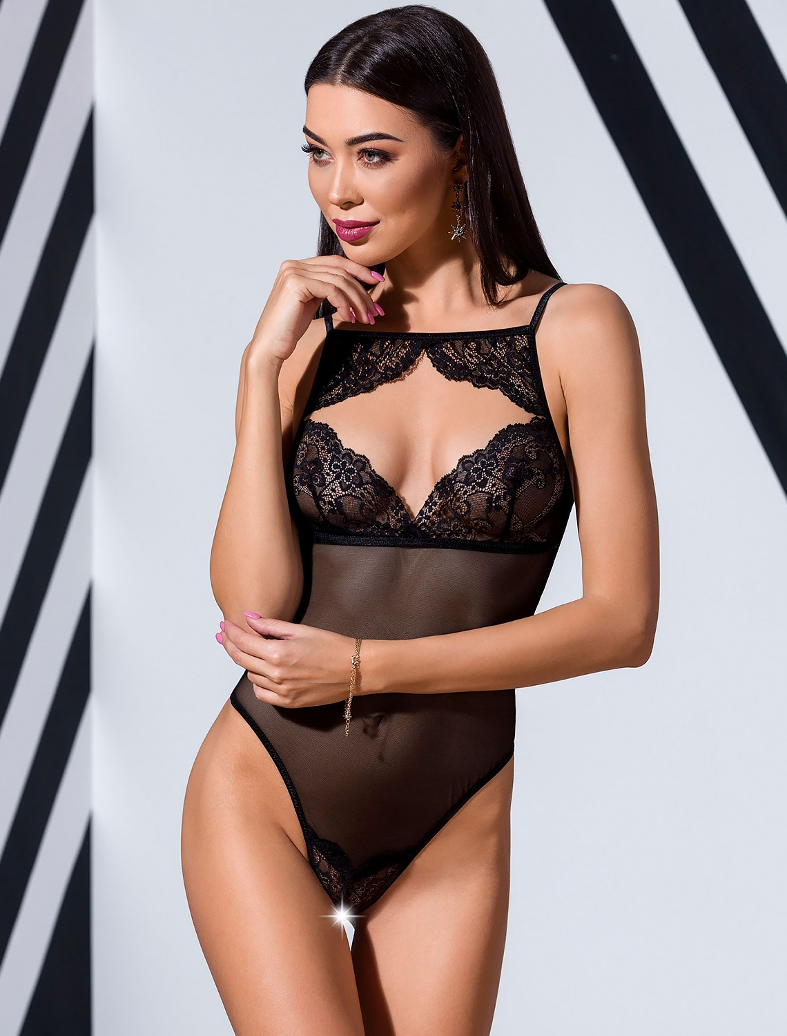 Body string tulle dentelle Veronique Passion