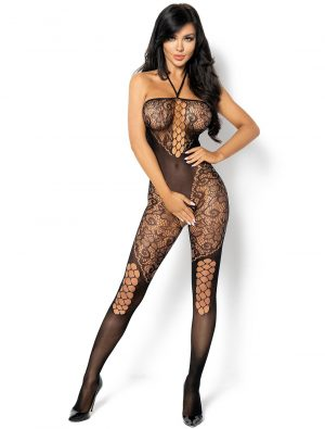 Bodystocking noir résille floral Rebecka BN6593 Beauty Night