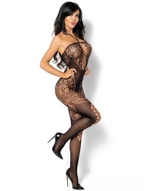 Bodystocking noir résille floral Rebecka BN6593 Beauty Night coté