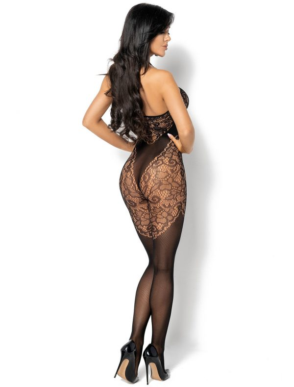 Bodystocking noir résille floral Rebecka BN6593 Beauty Night dos