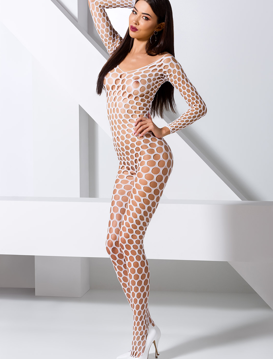 Bodystocking ouvert filet blanc BS077W Passion