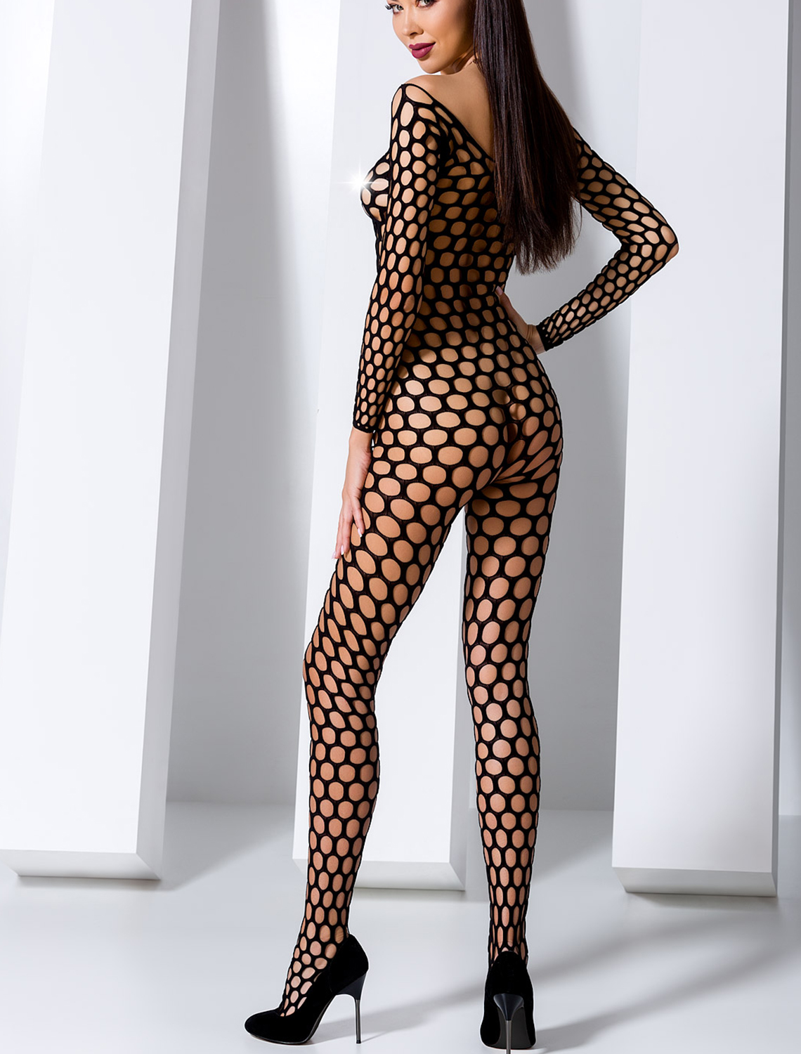 Bodystocking ouvert filet noir BS077B Passion dos