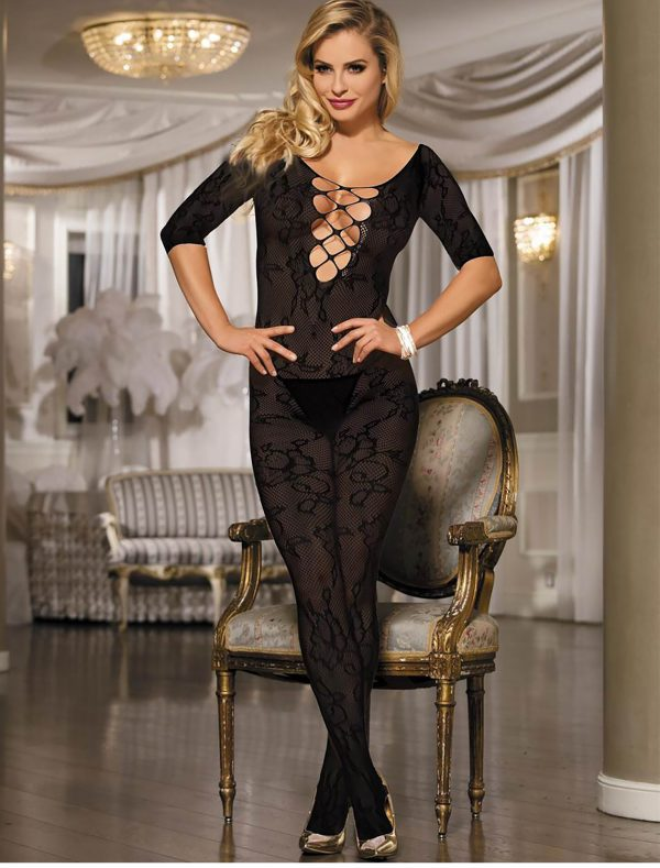 Bodystocking resille florale noire dely