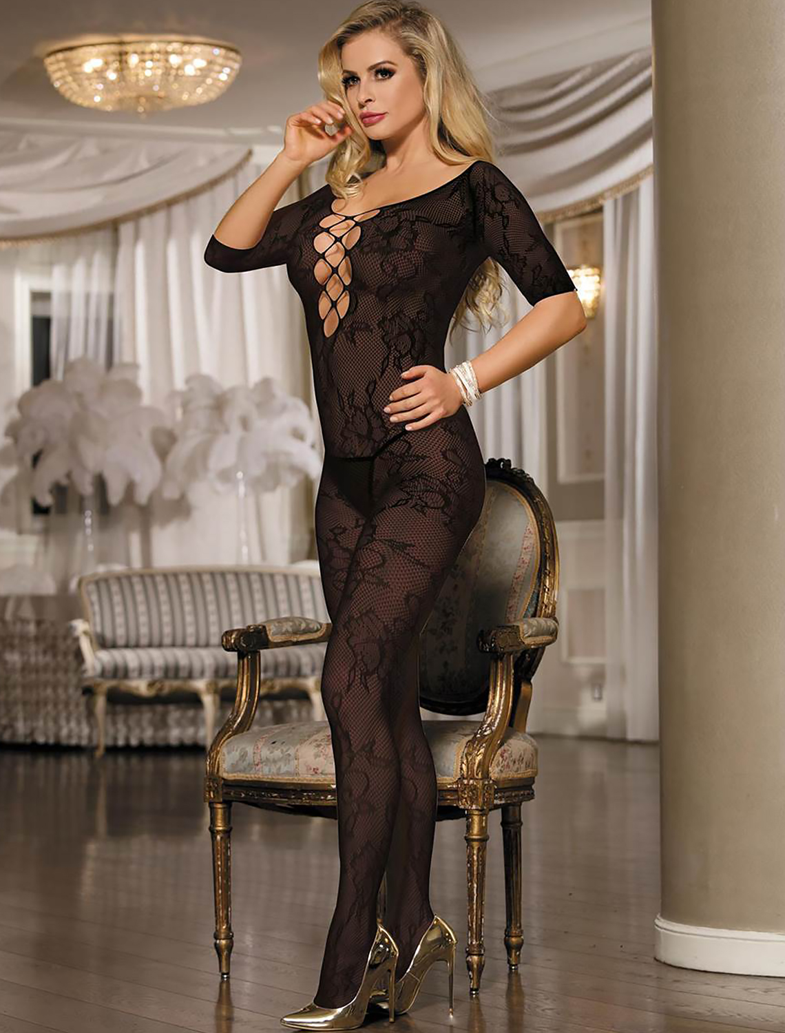 Bodystocking resille florale noire dely img2