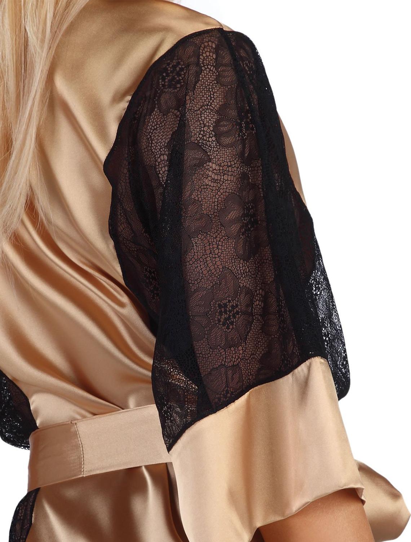 Déshabillé satin or noir Stephanie gold BN6425 Beauty Night dentelle