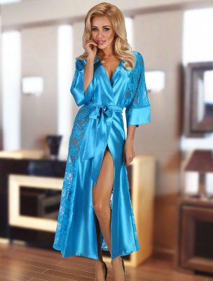 Déshabillé long satin dentelle turquoise Bouquet Beauty Night