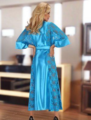 Déshabillé long satin dentelle turquoise Bouquet Beauty Night dos