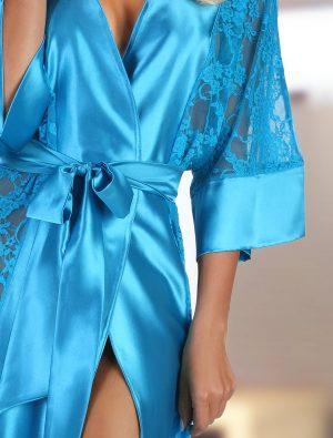 Déshabillé long satin dentelle turquoise Bouquet Beauty Night img2