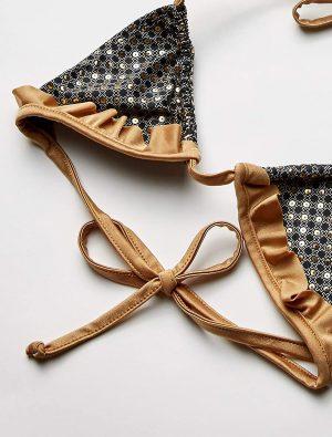 Maillot de bain bikini string noir or 6740 Mapale img2