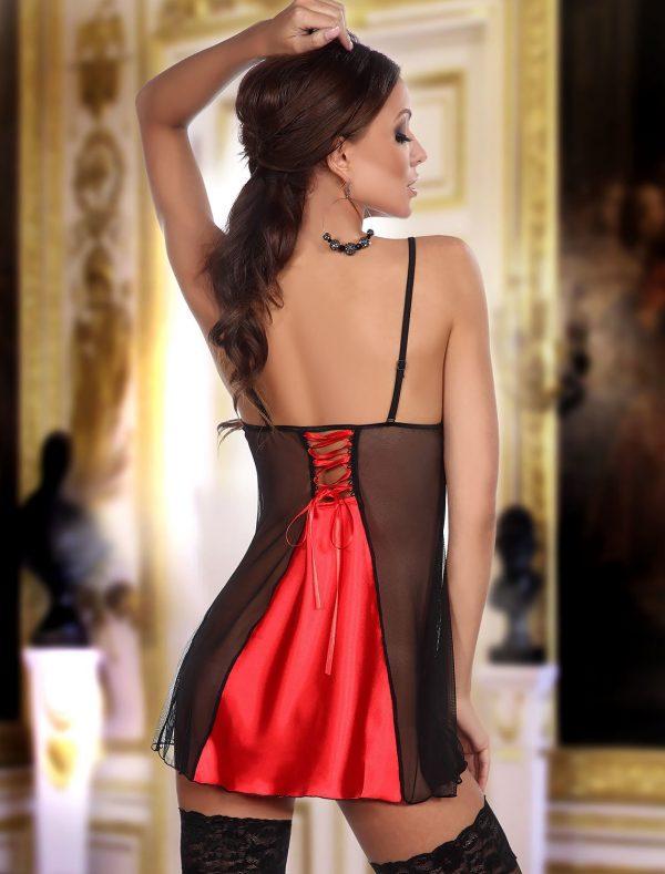 Nuisette dentelle noire et satin rouge Michele Beauty Night dos
