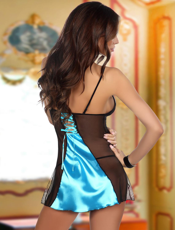 Nuisette dentelle noire et satin turquoise Michele Beauty Night dos