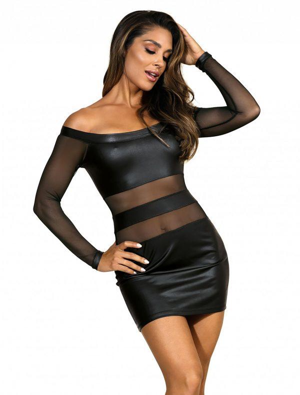 Robe clubbing noir manches longues V-9309 Axami