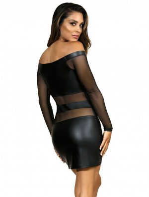 Robe clubbing noir manches longues V-9309 Axami dos
