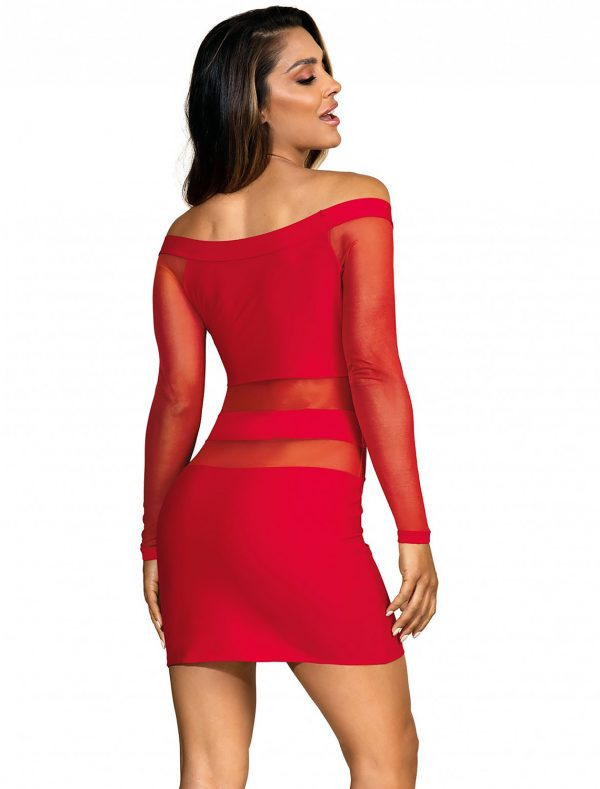 Robe clubbing rouge manches longues V-9299 Axami dos