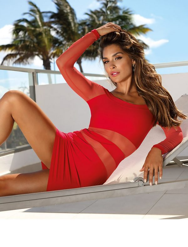 Robe clubbing rouge manches longues V-9299 Axami img2