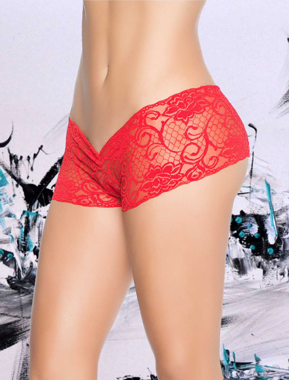 Shorty ouvert dentelle rouge style 98 Mapalé