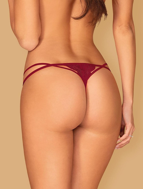 String dentelle lanière rouge bordeaux Ivetta Obsessive dos