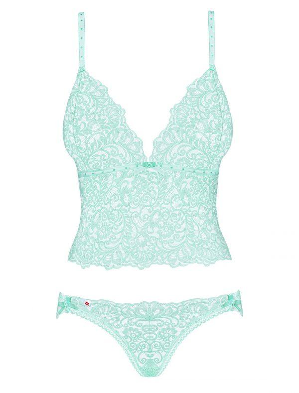 ensemble Top et culotte dentelle vert d'eau Delicanta Obsessive img1